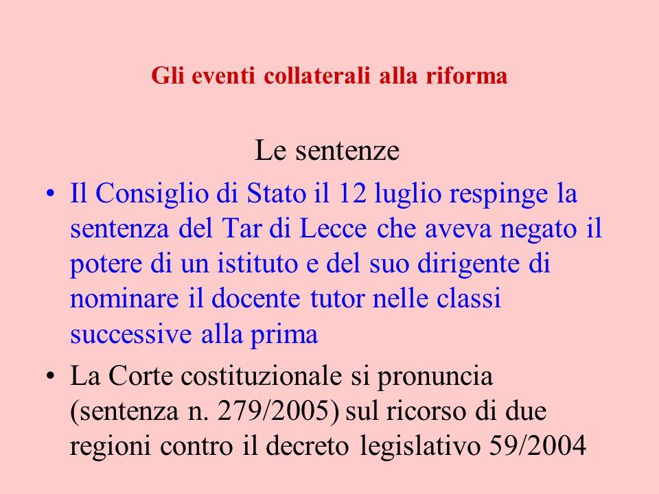 Gli eventi collaterali alla riforma Le sentenze Il Consiglio di Stato il 12 luglio respinge la sentenza del Tar di Lecce che aveva negato il potere di