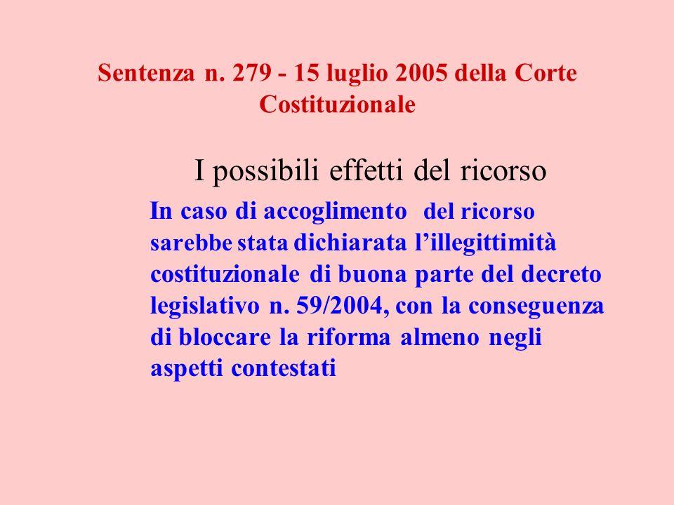 Sentenza n. 279 - 15 luglio 2005 della Corte Costituzionale I possibili effetti del ricorso In caso di accoglimento del ricorso sarebbe stata dichiara