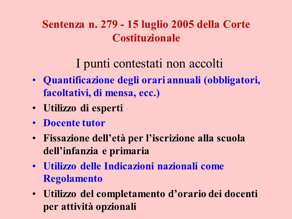 Sentenza n. 279 - 15 luglio 2005 della Corte Costituzionale I punti contestati non accolti Quantificazione degli orari annuali (obbligatori, facoltati