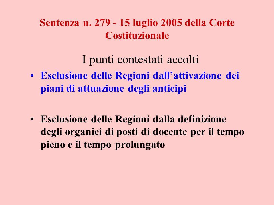 Sentenza n. 279 - 15 luglio 2005 della Corte Costituzionale I punti contestati accolti Esclusione delle Regioni dallattivazione dei piani di attuazion