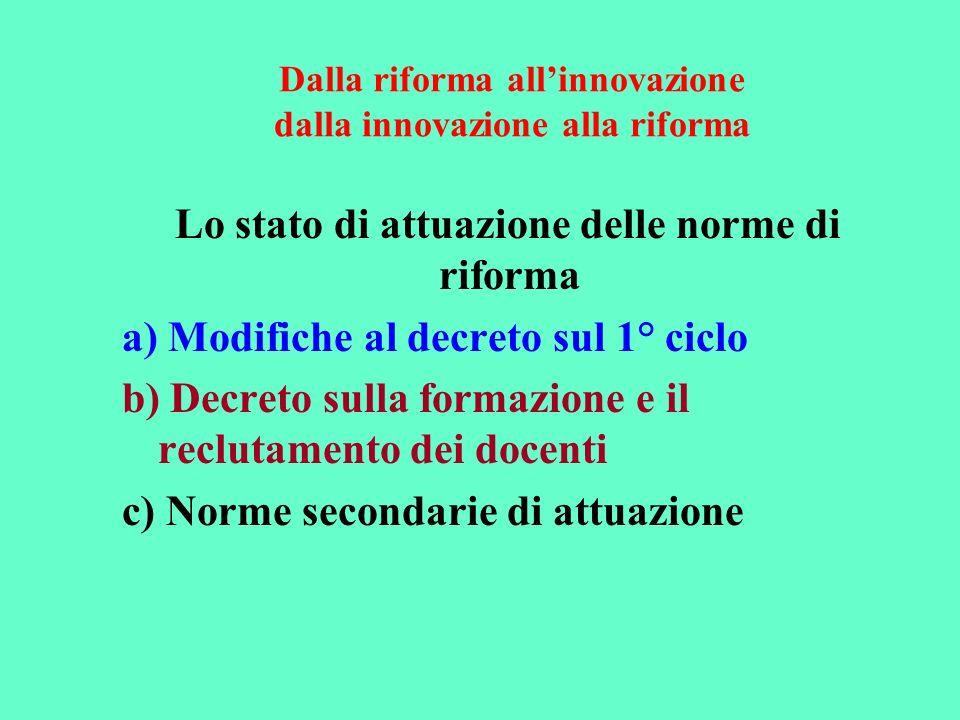 Dalla riforma allinnovazione dalla innovazione alla riforma Lo stato di attuazione delle norme di riforma a) Modifiche al decreto sul 1° ciclo b) Decr