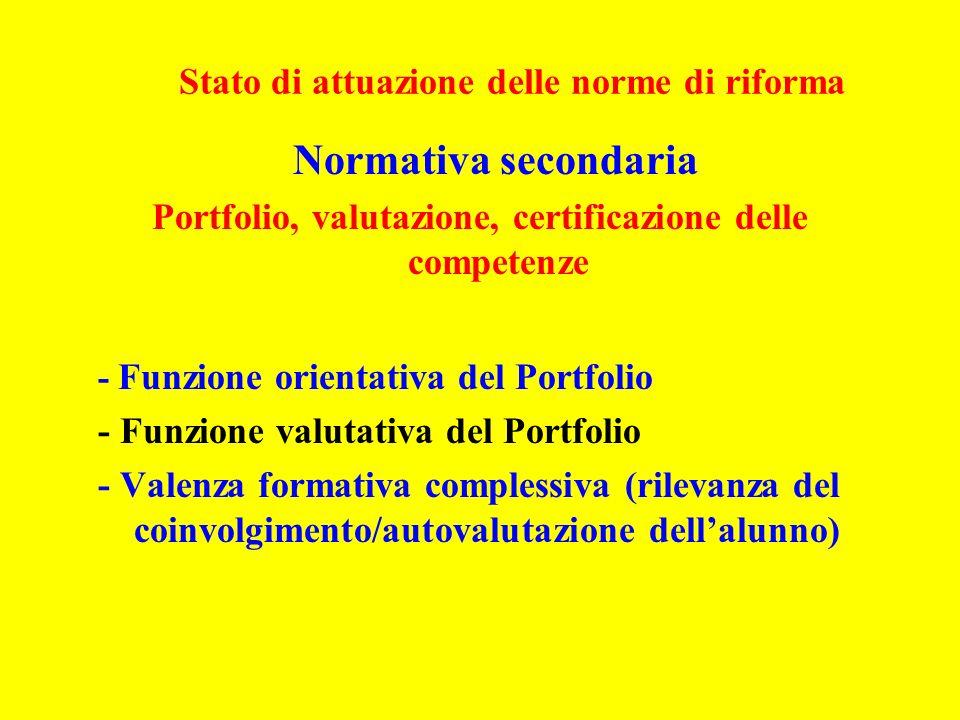 Stato di attuazione delle norme di riforma Normativa secondaria Portfolio, valutazione, certificazione delle competenze - Funzione orientativa del Portfolio - Funzione valutativa del Portfolio - Valenza formativa complessiva (rilevanza del coinvolgimento/autovalutazione dellalunno)