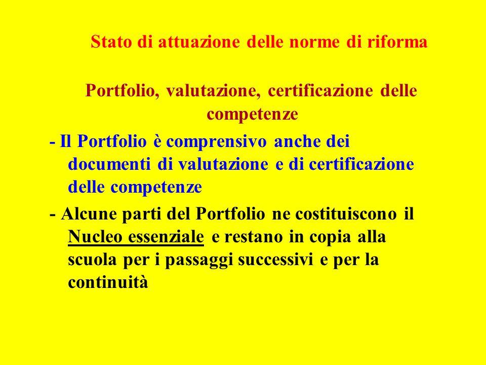 Stato di attuazione delle norme di riforma Portfolio, valutazione, certificazione delle competenze - Il Portfolio è comprensivo anche dei documenti di