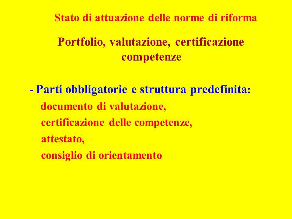 Stato di attuazione delle norme di riforma Portfolio, valutazione, certificazione competenze - Parti obbligatorie e struttura predefinita : documento di valutazione, certificazione delle competenze, attestato, consiglio di orientamento
