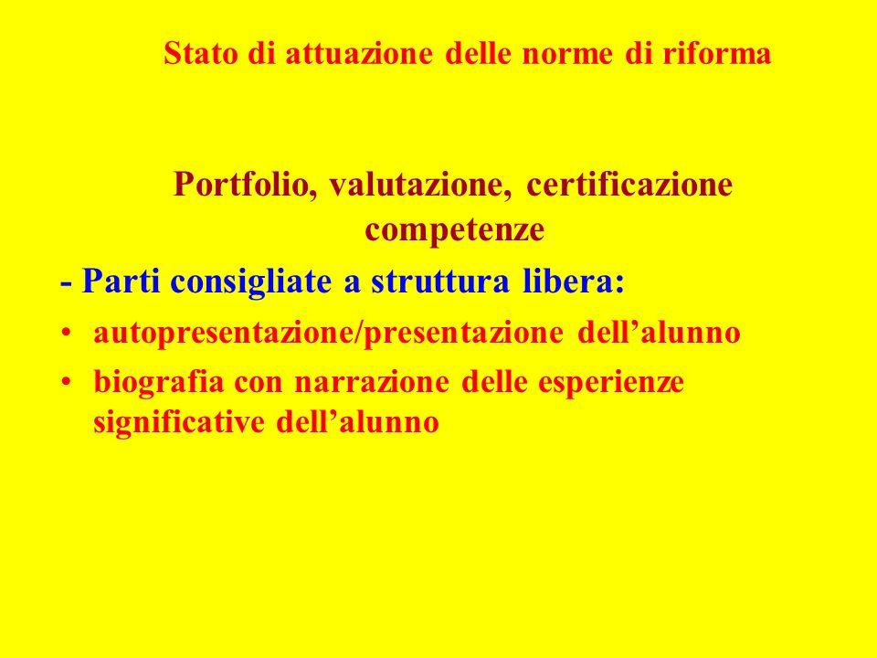 Stato di attuazione delle norme di riforma Portfolio, valutazione, certificazione competenze - Parti consigliate a struttura libera: autopresentazione