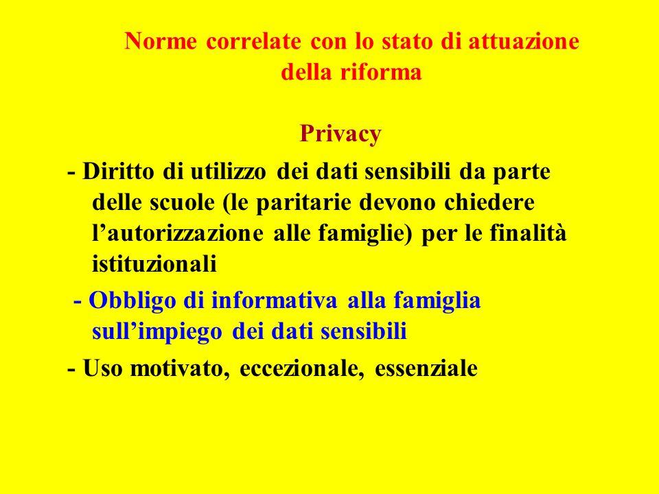 Norme correlate con lo stato di attuazione della riforma Privacy - Diritto di utilizzo dei dati sensibili da parte delle scuole (le paritarie devono c