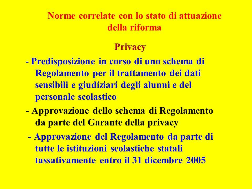 Norme correlate con lo stato di attuazione della riforma Privacy - Predisposizione in corso di uno schema di Regolamento per il trattamento dei dati s