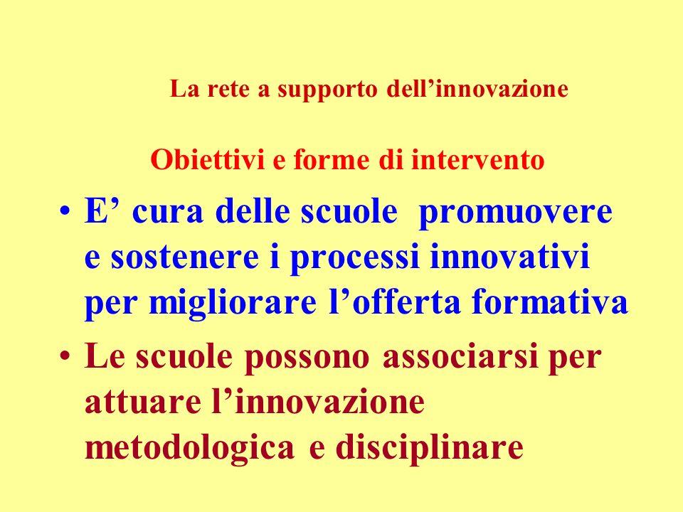 La rete a supporto dellinnovazione Obiettivi e forme di intervento E cura delle scuole promuovere e sostenere i processi innovativi per migliorare lofferta formativa Le scuole possono associarsi per attuare linnovazione metodologica e disciplinare