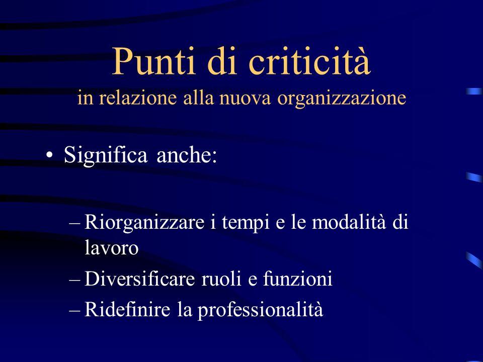 Punti di criticità in relazione alla nuova organizzazione Significa anche: –Riorganizzare i tempi e le modalità di lavoro –Diversificare ruoli e funzi