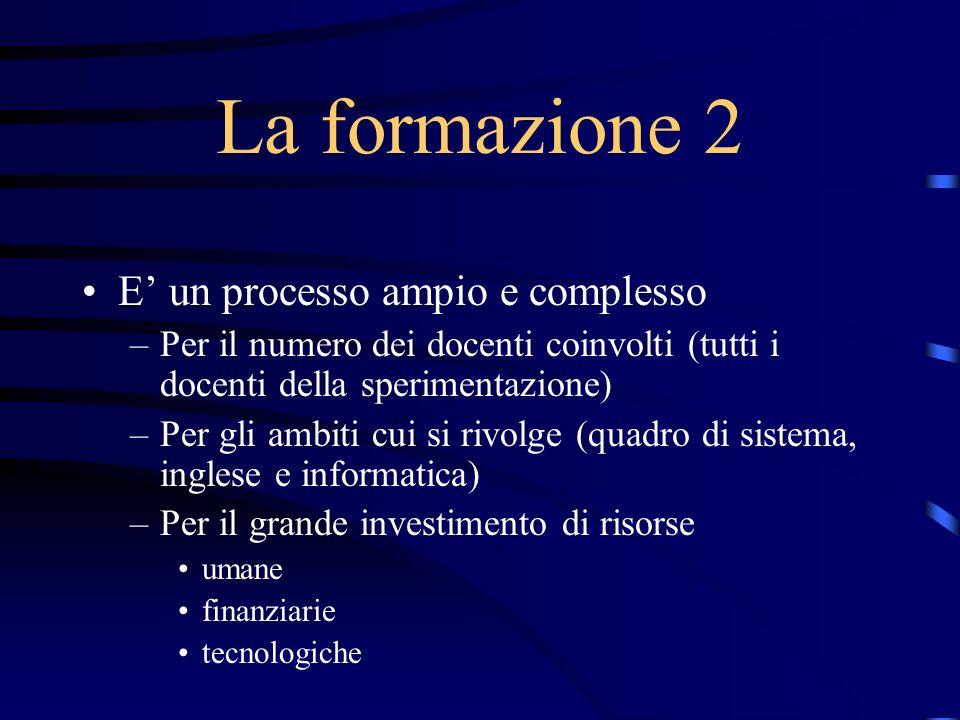 La formazione 2 E un processo ampio e complesso –Per il numero dei docenti coinvolti (tutti i docenti della sperimentazione) –Per gli ambiti cui si ri