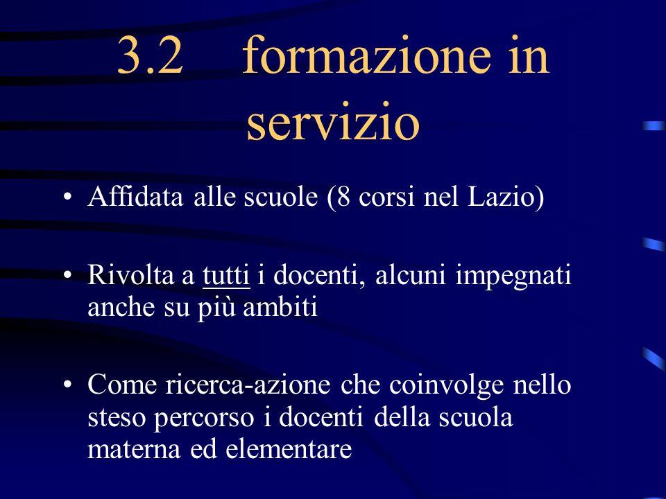 3.2 formazione in servizio Affidata alle scuole (8 corsi nel Lazio) Rivolta a tutti i docenti, alcuni impegnati anche su più ambiti Come ricerca-azion