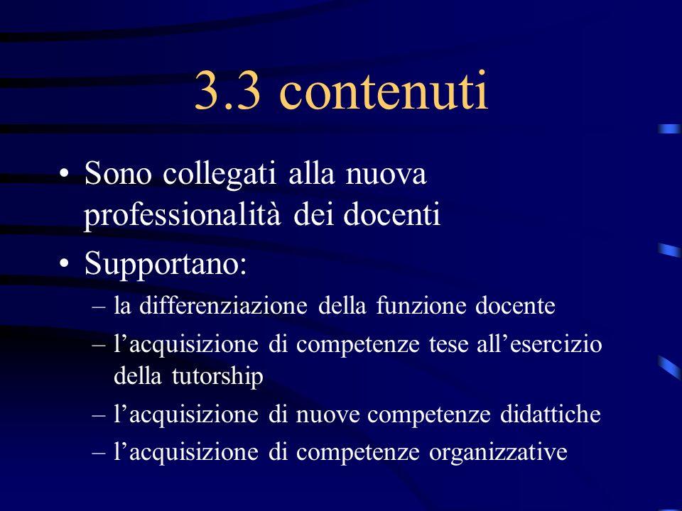 3.3 contenuti Sono collegati alla nuova professionalità dei docenti Supportano: –la differenziazione della funzione docente –lacquisizione di competen