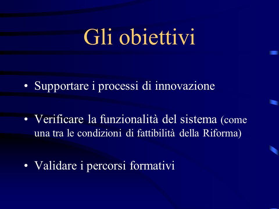 Gli obiettivi Supportare i processi di innovazione Verificare la funzionalità del sistema (come una tra le condizioni di fattibilità della Riforma) Va