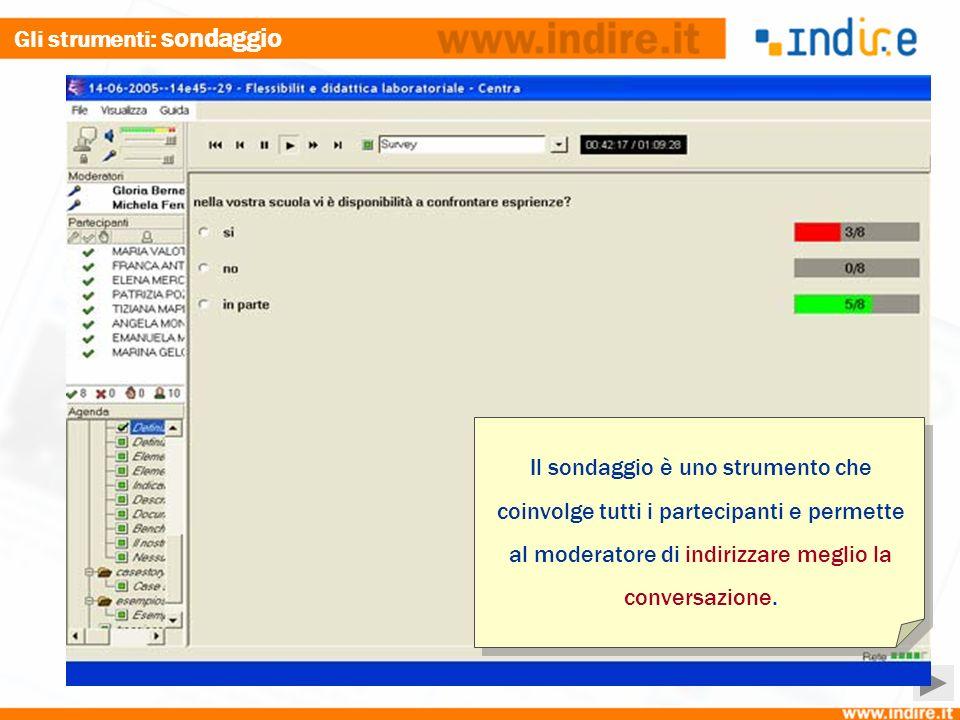 Gli strumenti : sondaggio Il sondaggio è uno strumento che coinvolge tutti i partecipanti e permette al moderatore di indirizzare meglio la conversazione.