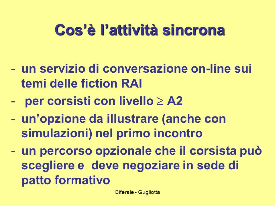 Biferale - Gugliotta Cosè lattività sincrona Cosè lattività sincrona -un servizio di conversazione on-line sui temi delle fiction RAI - per corsisti c