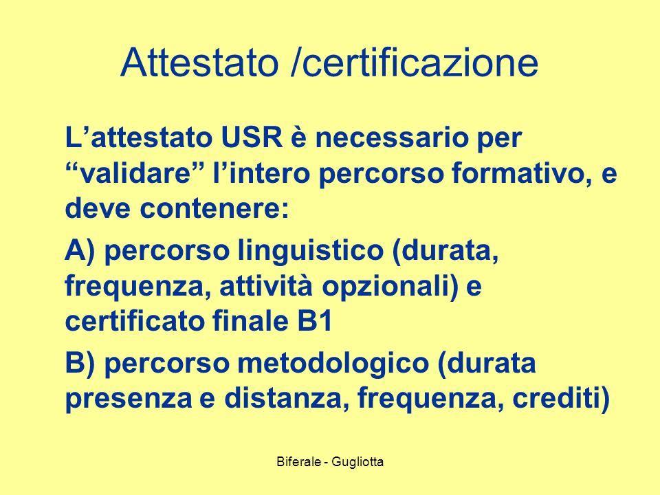 Biferale - Gugliotta Attestato /certificazione Lattestato USR è necessario per validare lintero percorso formativo, e deve contenere: A) percorso ling