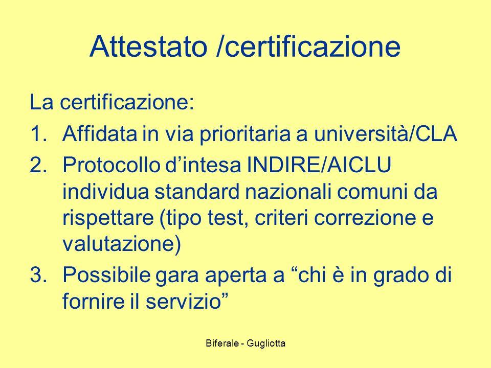 Biferale - Gugliotta Attestato /certificazione La certificazione: 1.Affidata in via prioritaria a università/CLA 2.Protocollo dintesa INDIRE/AICLU ind