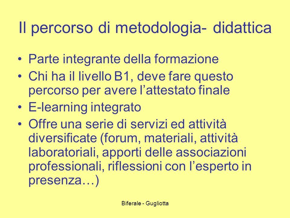 Biferale - Gugliotta Il percorso di metodologia- didattica Parte integrante della formazione Chi ha il livello B1, deve fare questo percorso per avere