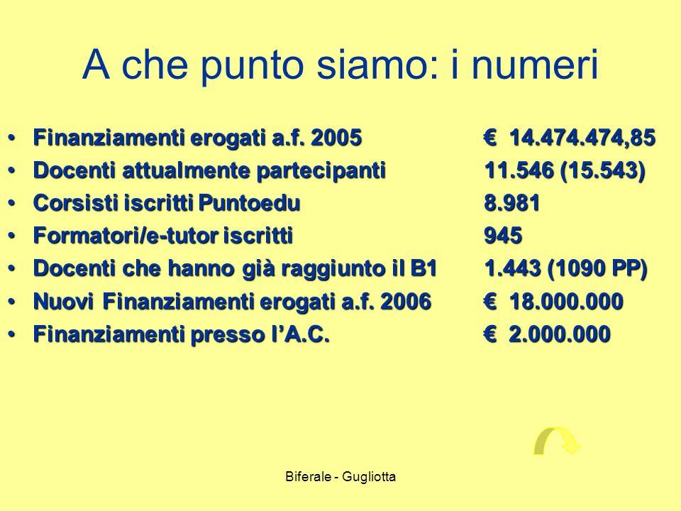 Biferale - Gugliotta A che punto siamo: i numeri Finanziamenti erogati a.f. 2005 14.474.474,85Finanziamenti erogati a.f. 2005 14.474.474,85 Docenti at