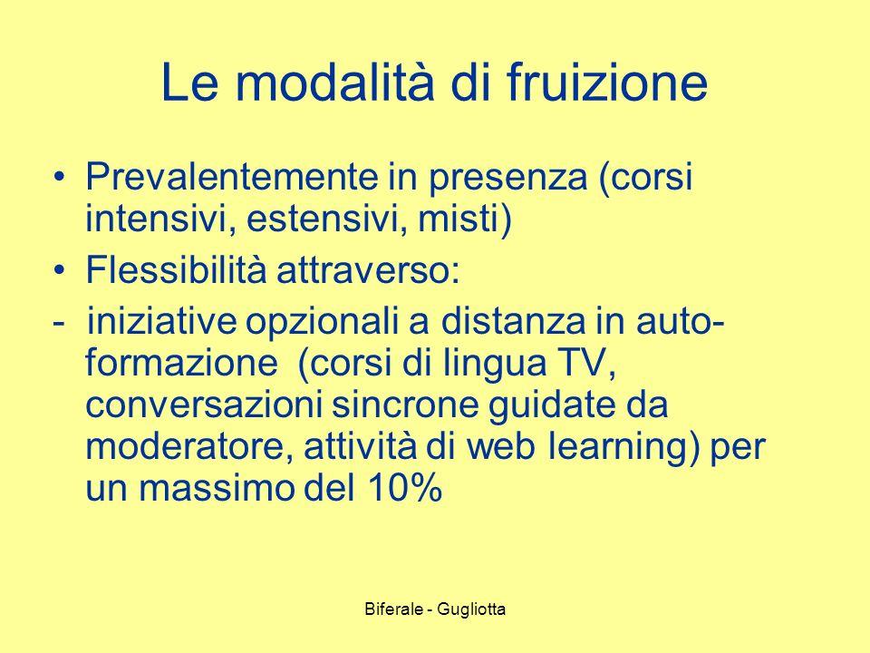 Biferale - Gugliotta Le modalità di fruizione Prevalentemente in presenza (corsi intensivi, estensivi, misti) Flessibilità attraverso: - iniziative op