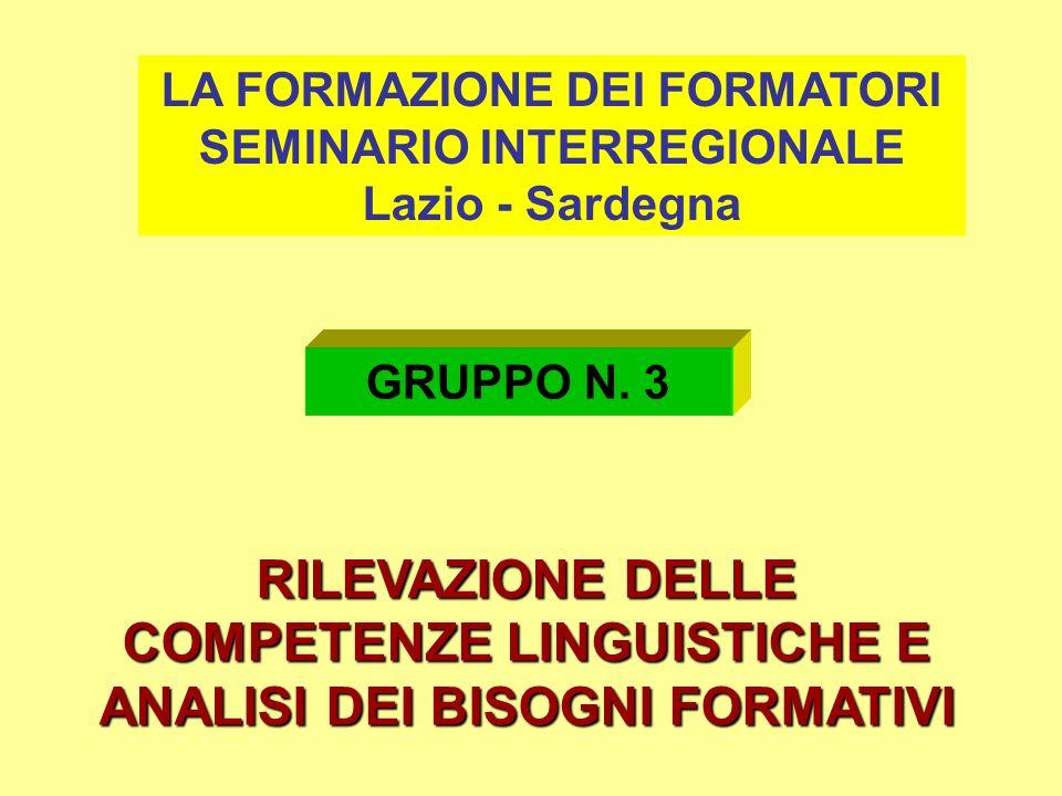 RILEVAZIONE DELLE COMPETENZE LINGUISTICHE E ANALISI DEI BISOGNI FORMATIVI LA FORMAZIONE DEI FORMATORI SEMINARIO INTERREGIONALE Lazio - Sardegna GRUPPO