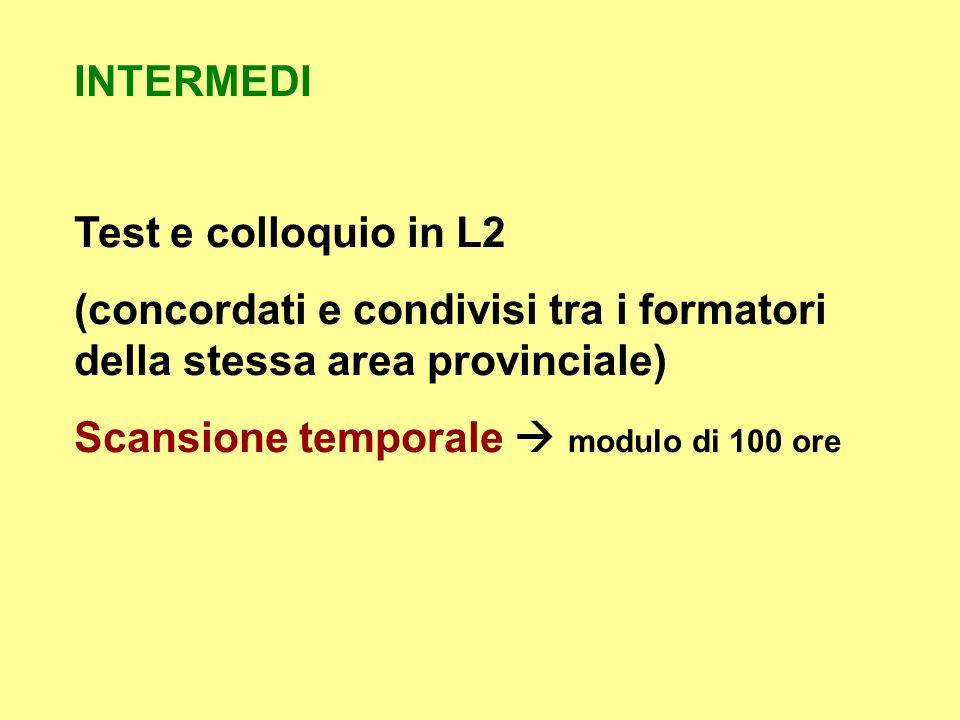 INTERMEDI Test e colloquio in L2 (concordati e condivisi tra i formatori della stessa area provinciale) Scansione temporale modulo di 100 ore