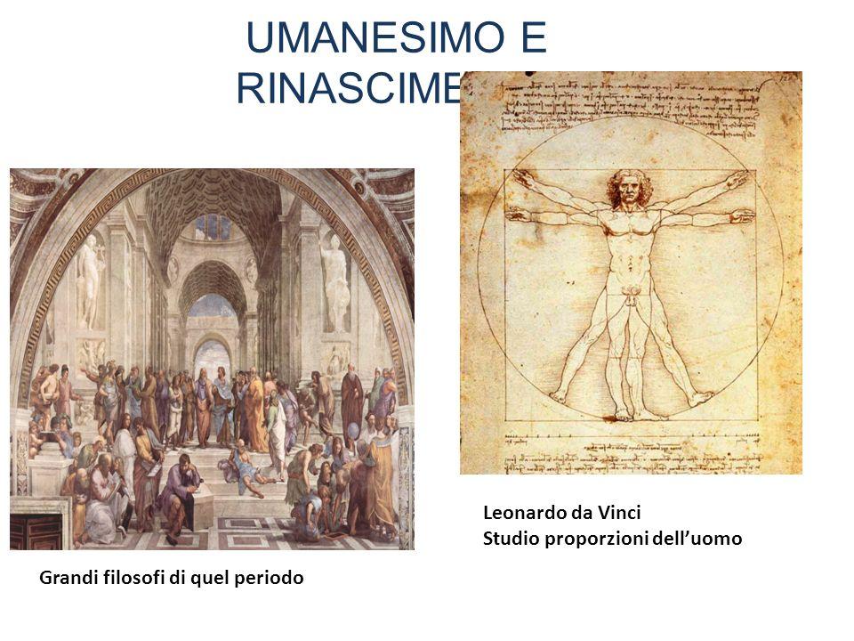 UMANESIMO E RINASCIMENTO Grandi filosofi di quel periodo Leonardo da Vinci Studio proporzioni delluomo