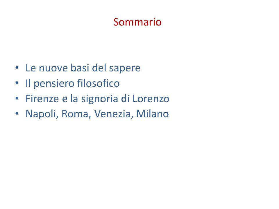 Sommario Le nuove basi del sapere Il pensiero filosofico Firenze e la signoria di Lorenzo Napoli, Roma, Venezia, Milano