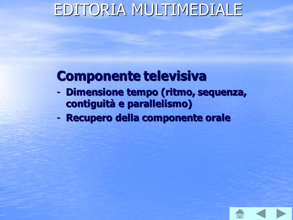 EDITORIA MULTIMEDIALE Componente televisiva -Dimensione tempo (ritmo, sequenza, contiguità e parallelismo) -Recupero della componente orale