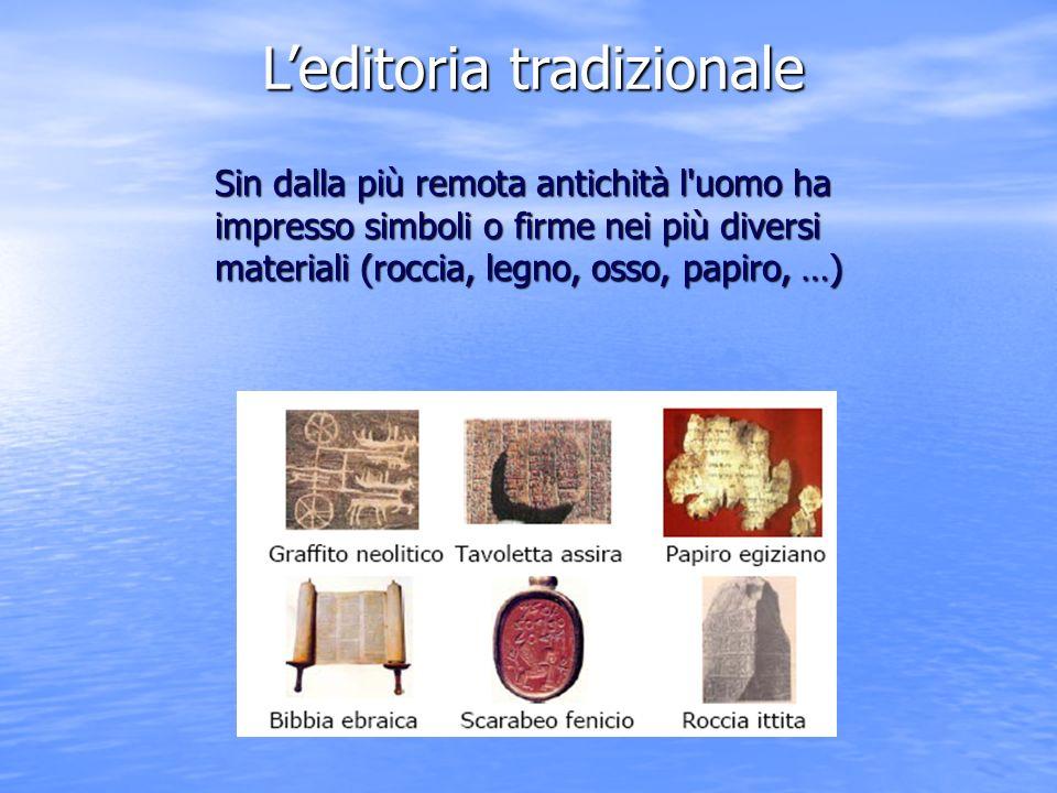 Leditoria tradizionale Sin dalla più remota antichità l uomo ha impresso simboli o firme nei più diversi materiali (roccia, legno, osso, papiro, …)