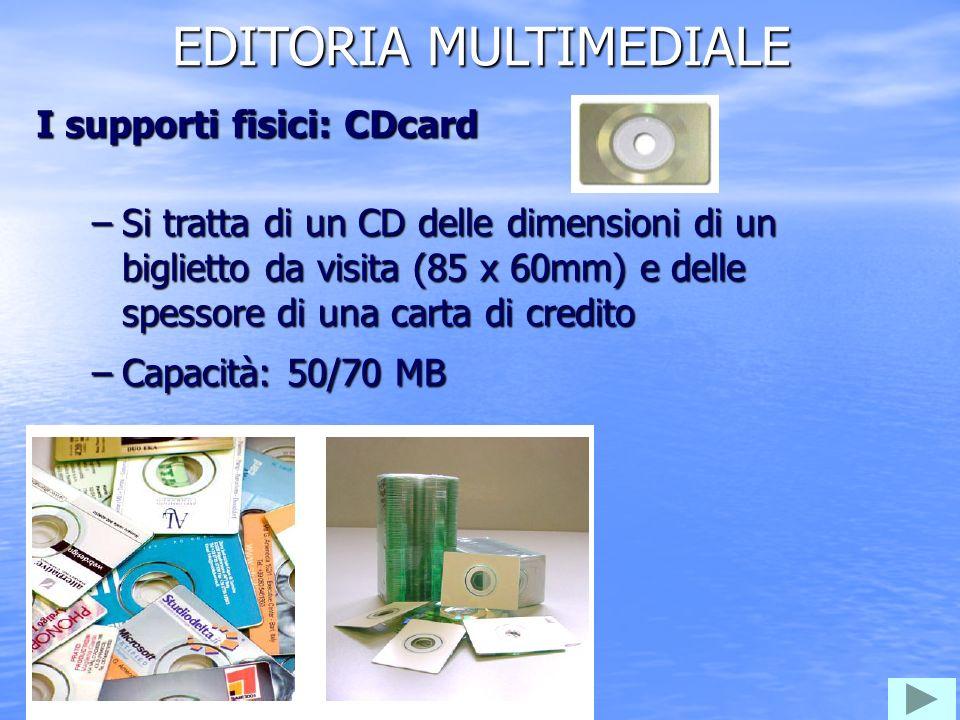 EDITORIA MULTIMEDIALE –Si tratta di un CD delle dimensioni di un biglietto da visita (85 x 60mm) e delle spessore di una carta di credito –Capacità: 50/70 MB I supporti fisici: CDcard