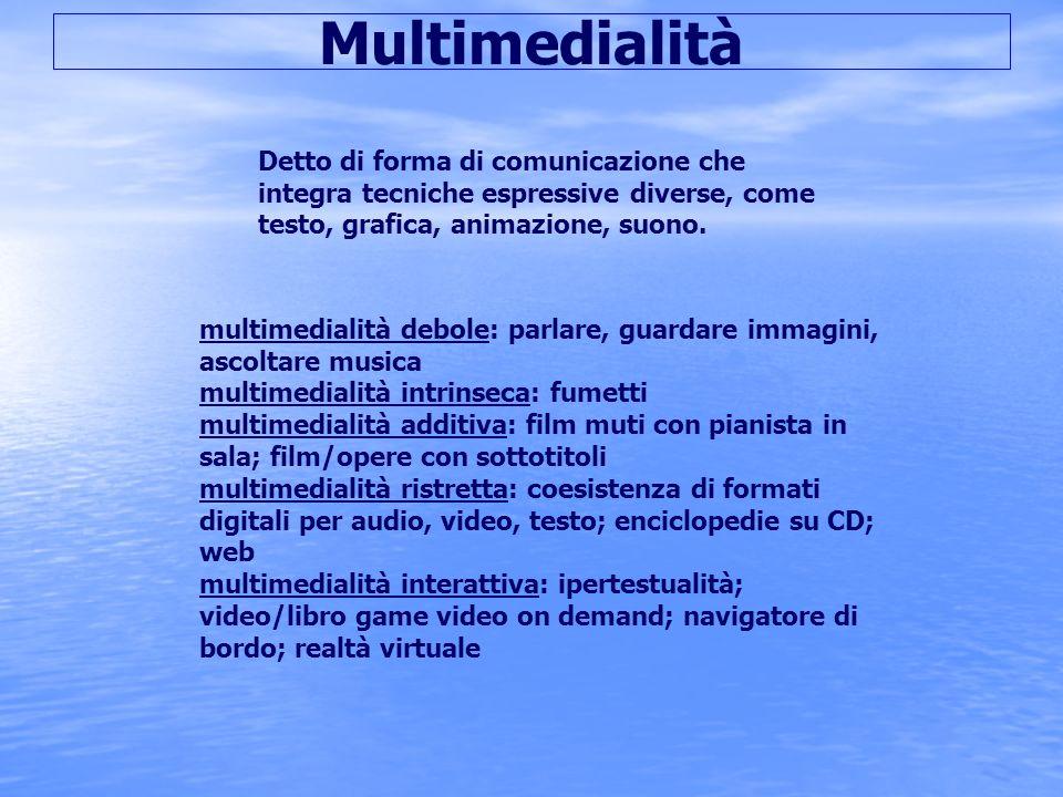 Multimedialità Detto di forma di comunicazione che integra tecniche espressive diverse, come testo, grafica, animazione, suono.