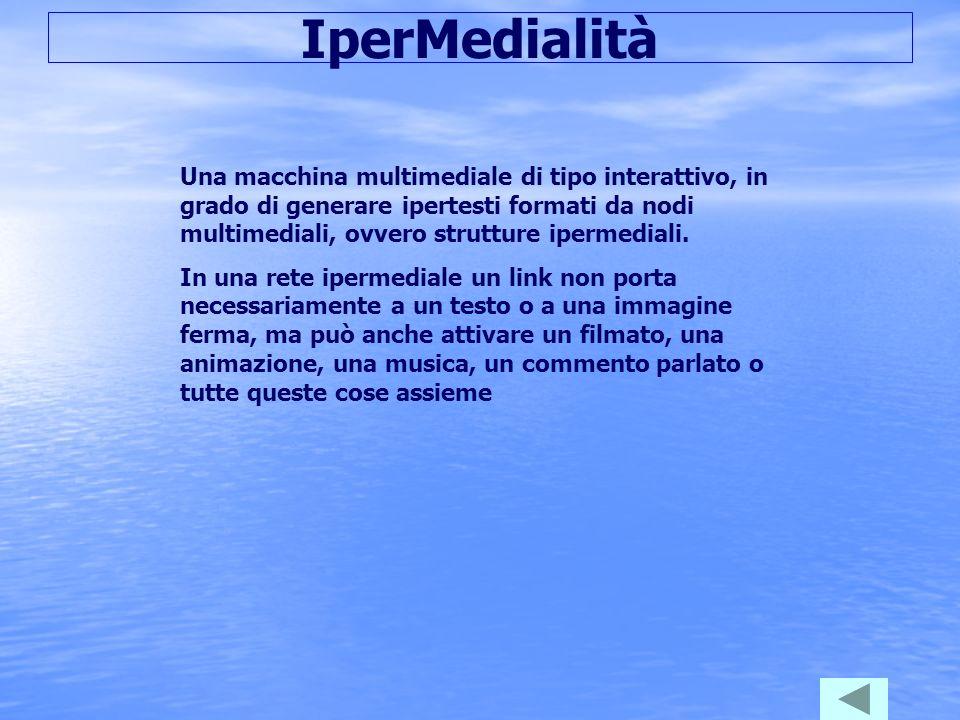 IperMedialità Una macchina multimediale di tipo interattivo, in grado di generare ipertesti formati da nodi multimediali, ovvero strutture ipermediali.