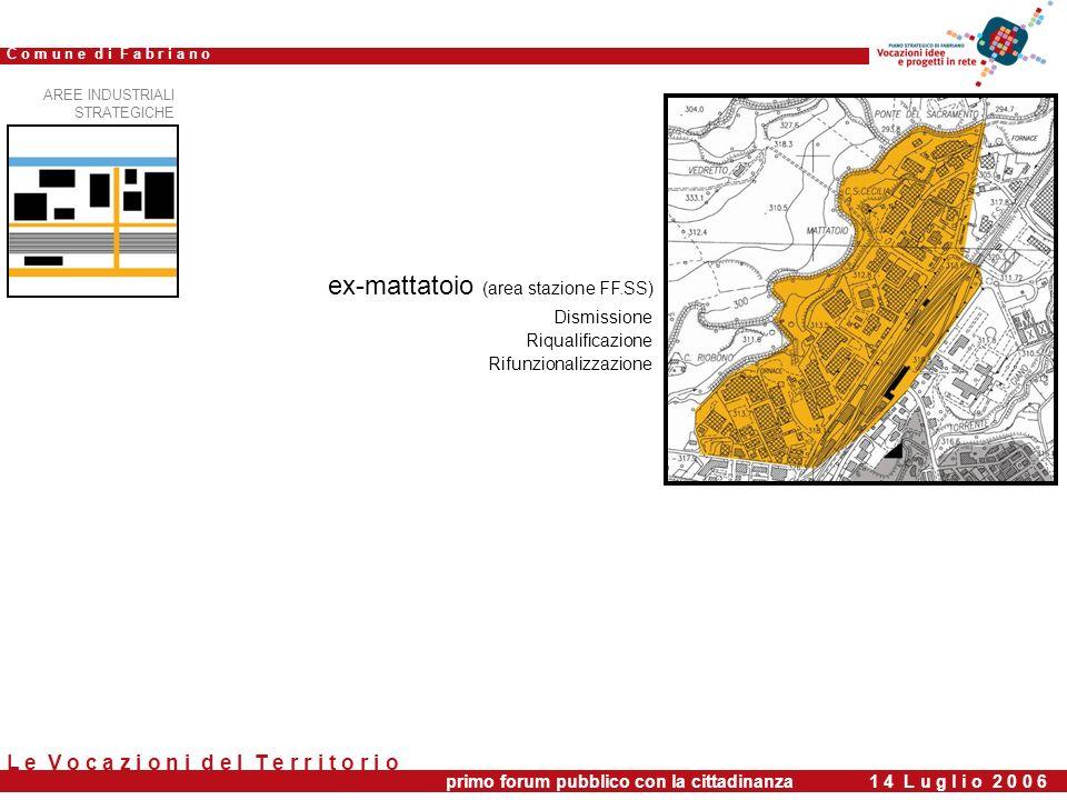 Dismissione Riqualificazione Rifunzionalizzazione primo forum pubblico con la cittadinanza 1 4 L u g l i o 2 0 0 6 C o m u n e d i F a b r i a n o L e V o c a z i o n i d e l T e r r i t o r i o ex-mattatoio (area stazione FF.SS) AREE INDUSTRIALI STRATEGICHE