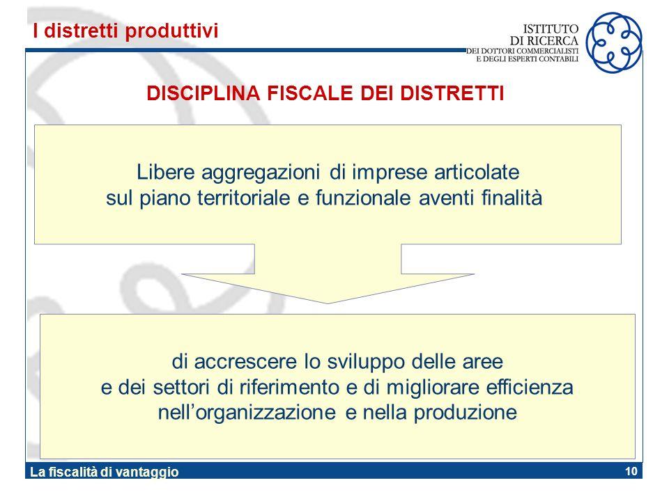 10 La fiscalità di vantaggio DISCIPLINA FISCALE DEI DISTRETTI I distretti produttivi Libere aggregazioni di imprese articolate sul piano territoriale