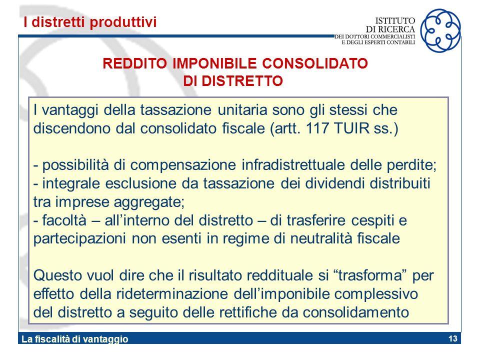 13 La fiscalità di vantaggio REDDITO IMPONIBILE CONSOLIDATO DI DISTRETTO I distretti produttivi I vantaggi della tassazione unitaria sono gli stessi c