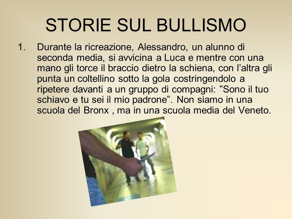 STORIE SUL BULLISMO 1.Durante la ricreazione, Alessandro, un alunno di seconda media, si avvicina a Luca e mentre con una mano gli torce il braccio di