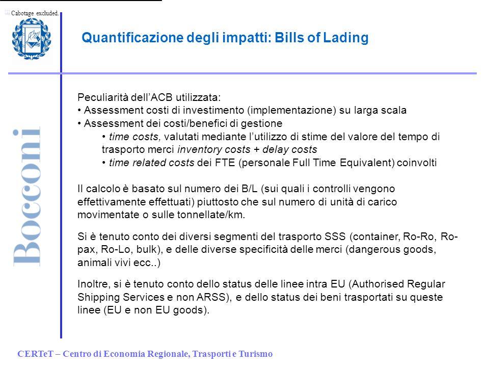 CERTeT – Centro di Economia Regionale, Trasporti e Turismo Quantificazione degli impatti: Bills of Lading Peculiarità dellACB utilizzata: Assessment c