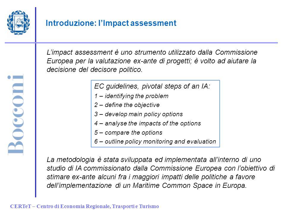 CERTeT – Centro di Economia Regionale, Trasporti e Turismo Introduzione: lImpact assessment Limpact assessment è uno strumento utilizzato dalla Commissione Europea per la valutazione ex-ante di progetti; è volto ad aiutare la decisione del decisore politico.