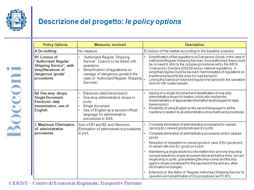 CERTeT – Centro di Economia Regionale, Trasporti e Turismo Descrizione del progetto: le policy options Policy OptionsMeasures involvedDescription A Do