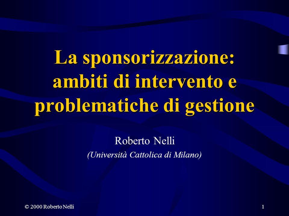 © 2000 Roberto Nelli22 I RISCHI DELLA SPONSORIZZAZIONE Lo sponsor non può gestire la frequenza e lintensità di diffusione dellinformazione.