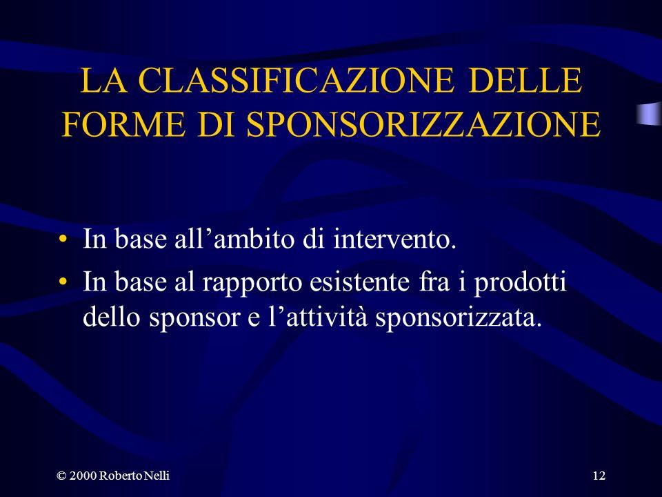 © 2000 Roberto Nelli12 LA CLASSIFICAZIONE DELLE FORME DI SPONSORIZZAZIONE In base allambito di intervento. In base al rapporto esistente fra i prodott