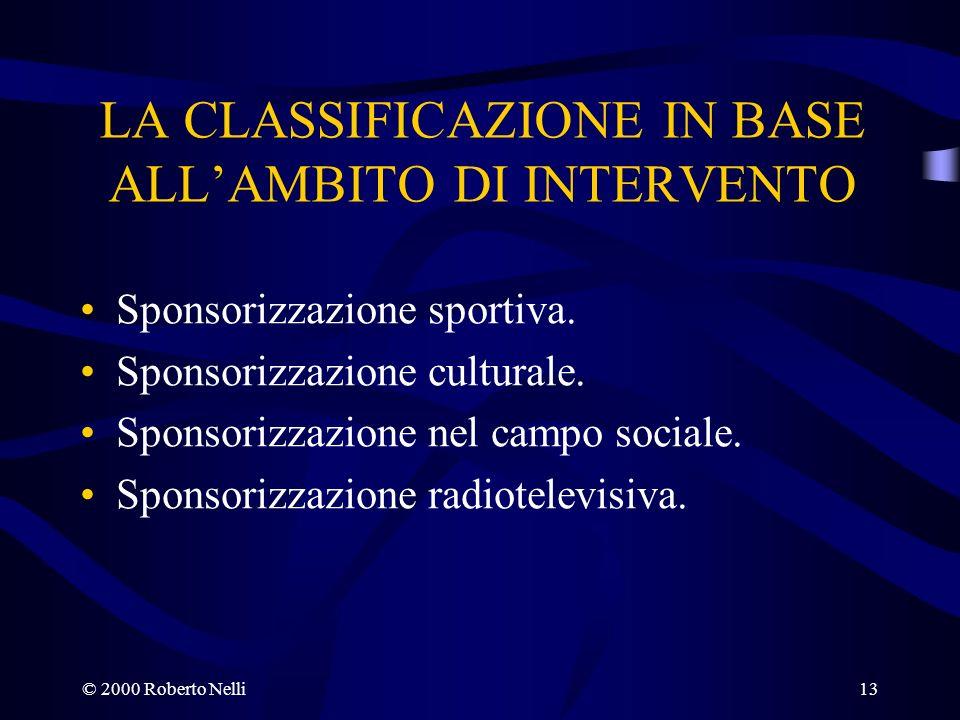 © 2000 Roberto Nelli13 LA CLASSIFICAZIONE IN BASE ALLAMBITO DI INTERVENTO Sponsorizzazione sportiva. Sponsorizzazione culturale. Sponsorizzazione nel