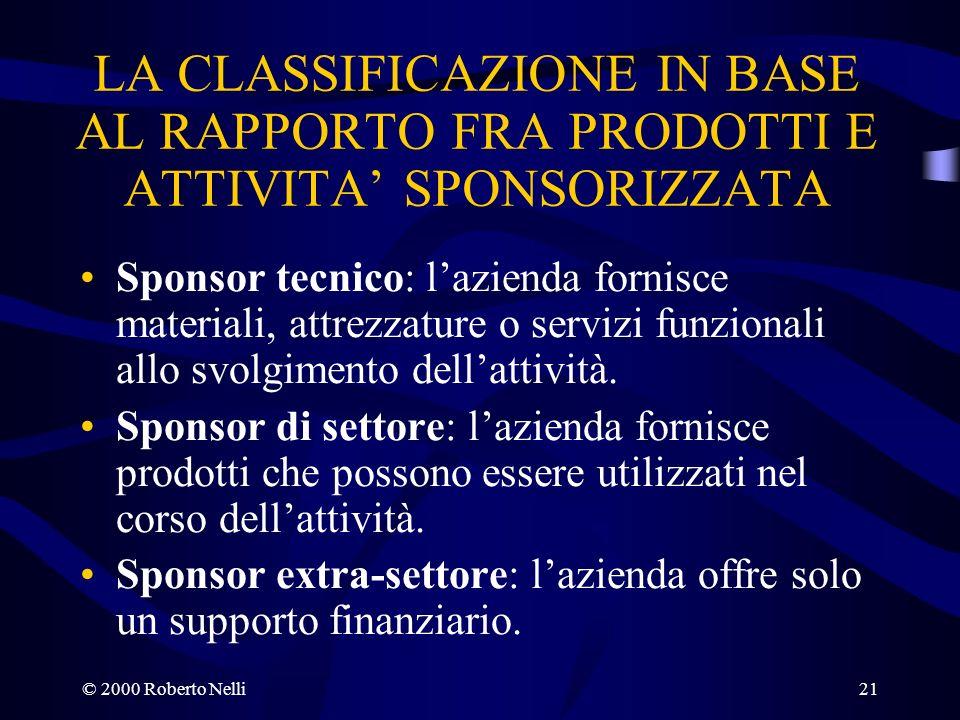 © 2000 Roberto Nelli21 LA CLASSIFICAZIONE IN BASE AL RAPPORTO FRA PRODOTTI E ATTIVITA SPONSORIZZATA Sponsor tecnico: lazienda fornisce materiali, attr