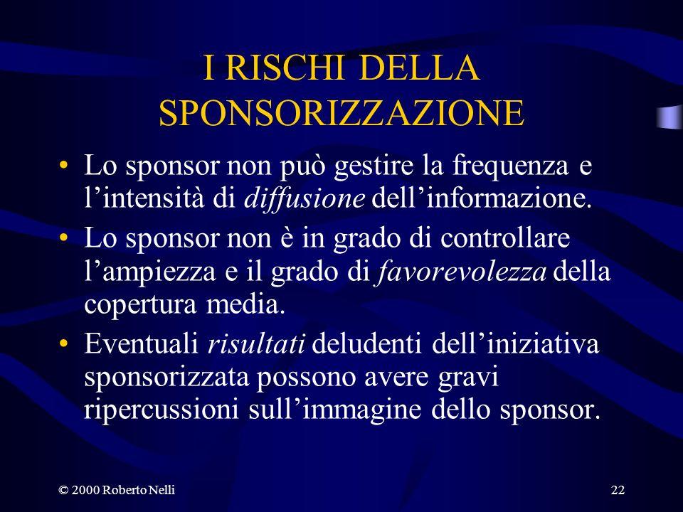 © 2000 Roberto Nelli22 I RISCHI DELLA SPONSORIZZAZIONE Lo sponsor non può gestire la frequenza e lintensità di diffusione dellinformazione. Lo sponsor