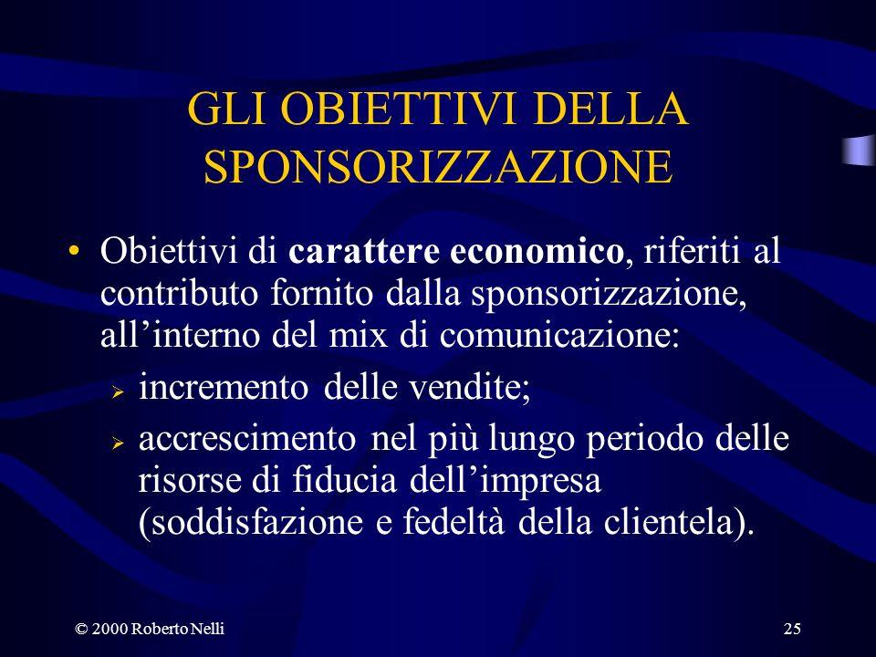 © 2000 Roberto Nelli25 GLI OBIETTIVI DELLA SPONSORIZZAZIONE Obiettivi di carattere economico, riferiti al contributo fornito dalla sponsorizzazione, a