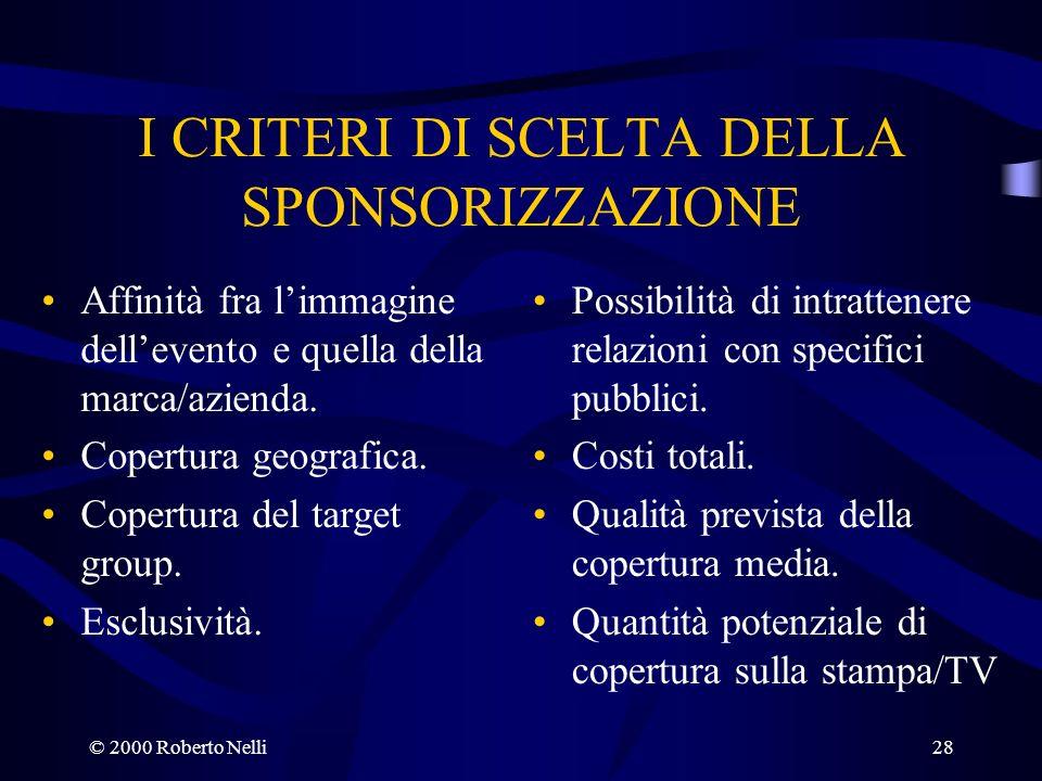 © 2000 Roberto Nelli28 I CRITERI DI SCELTA DELLA SPONSORIZZAZIONE Affinità fra limmagine dellevento e quella della marca/azienda. Copertura geografica