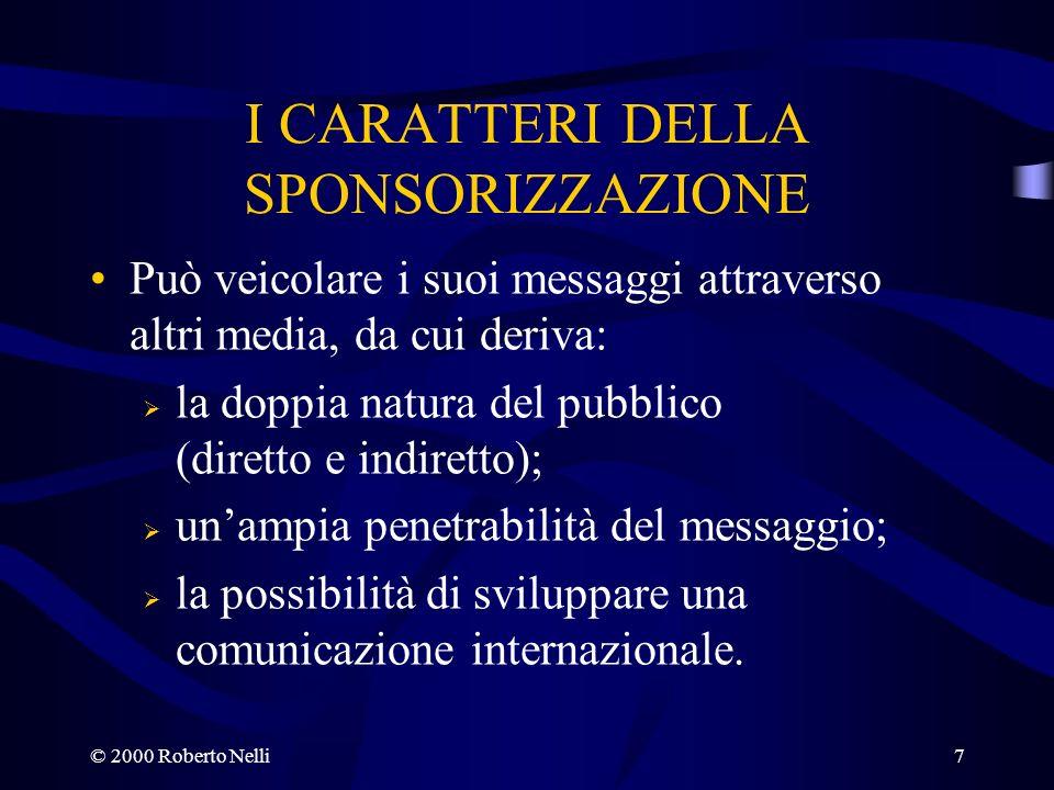 © 2000 Roberto Nelli7 I CARATTERI DELLA SPONSORIZZAZIONE Può veicolare i suoi messaggi attraverso altri media, da cui deriva: la doppia natura del pub