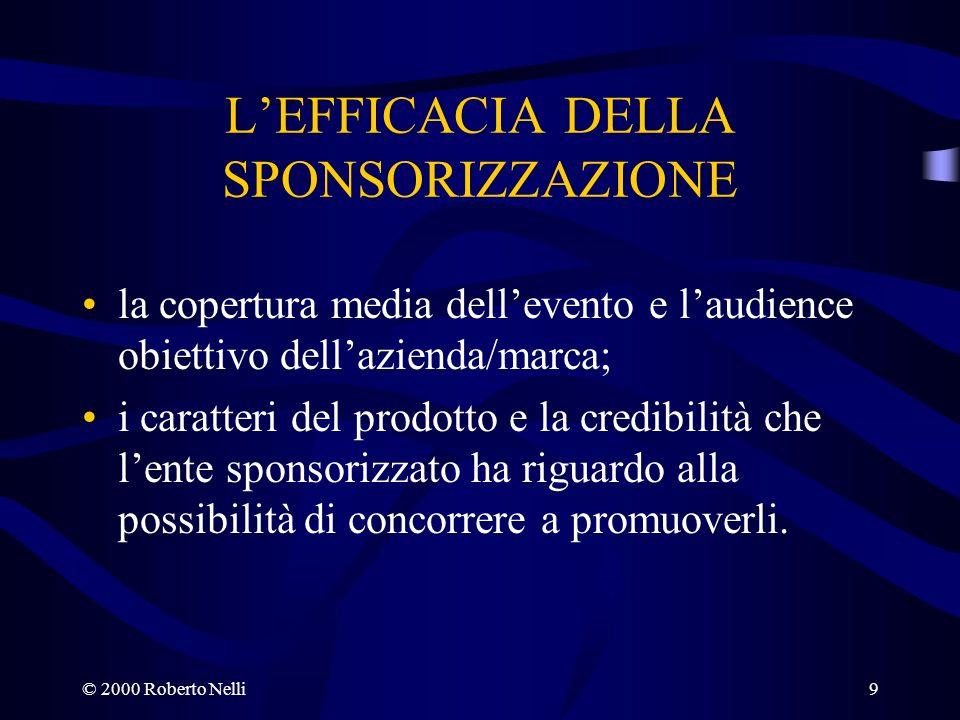 © 2000 Roberto Nelli9 LEFFICACIA DELLA SPONSORIZZAZIONE la copertura media dellevento e laudience obiettivo dellazienda/marca; i caratteri del prodott