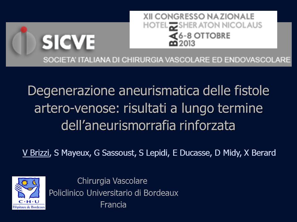Degenerazione aneurismatica delle fistole artero-venose: risultati a lungo termine dellaneurismorrafia rinforzata V Brizzi, S Mayeux, G Sassoust, S Le